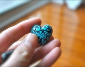 Lucite Heart Beads - Teal and Black - 2 Count