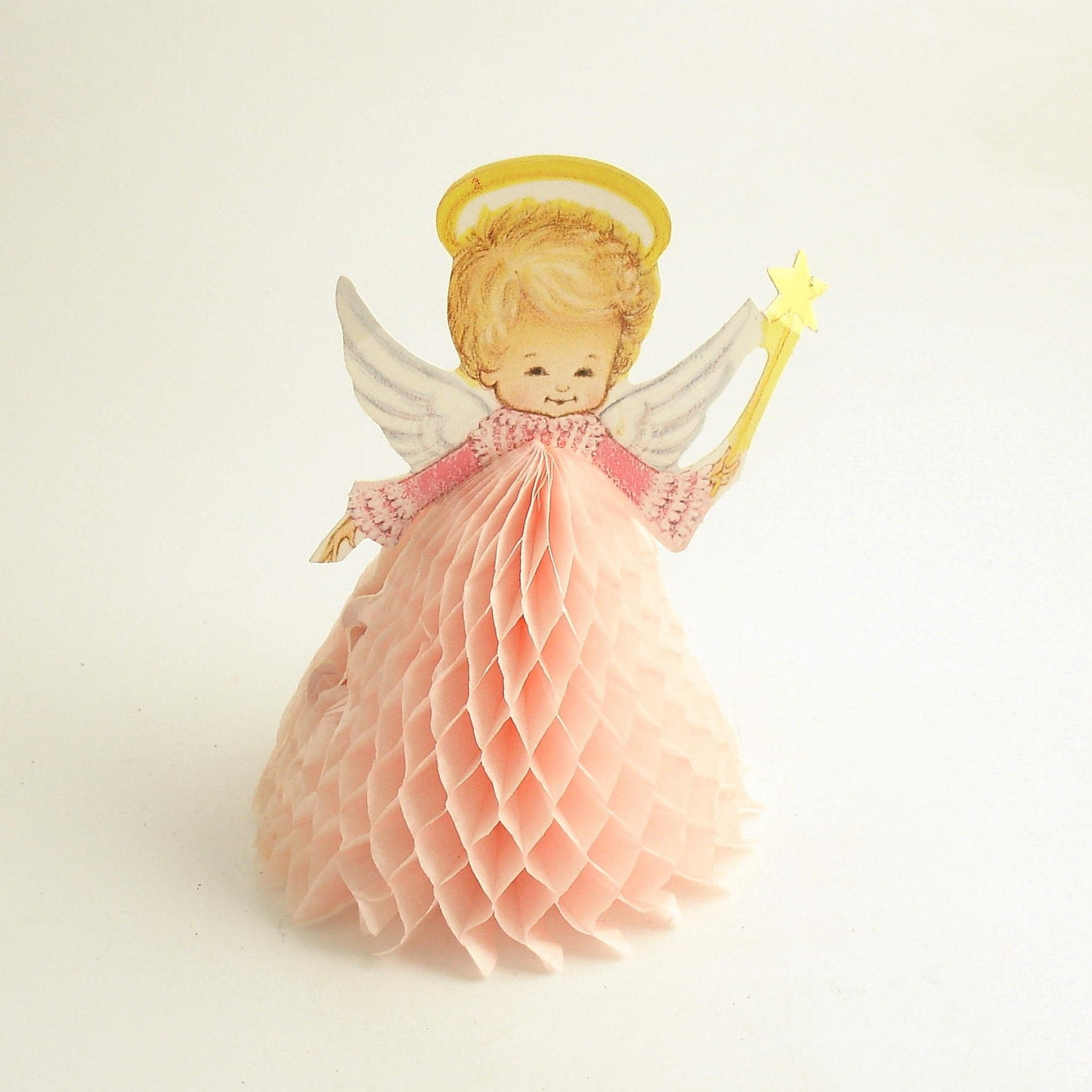 Vintage honeycomb angel christmas decoration for Angel decoration