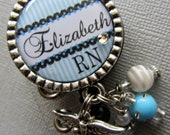 Nurse Personalized Name ID Badge Reel Silver Pendant  - RN, NP,  medical office, nurse practitioner