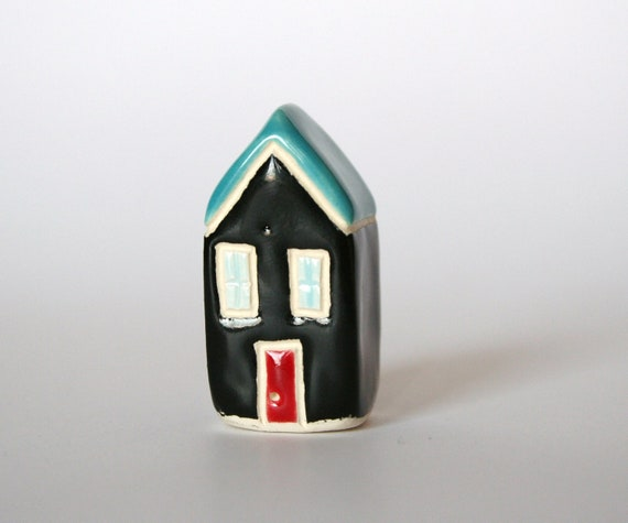 Little House Black Aqua Red miniature ceramic clay house