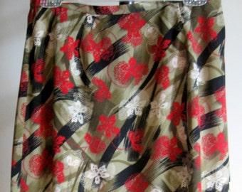 Vintage Windy Day Print Skirt - Olive Greens, Deep Red, Beige, and Black