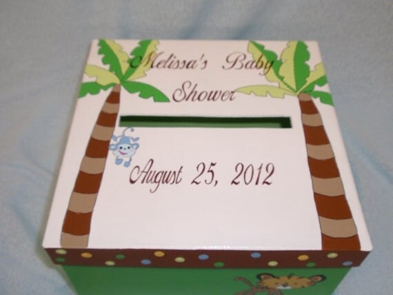 items similar to monkey and palm trees baby shower card box on etsy