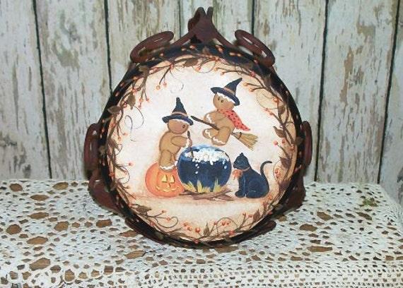 Halloween Witch Gingerbread Primitive Folk Art Pumpkin Stool OFG