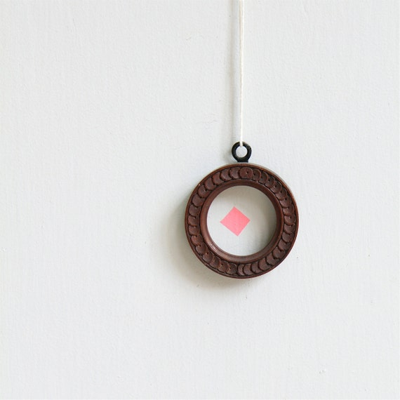 Vintage Carved Wood Round Frame - Locket