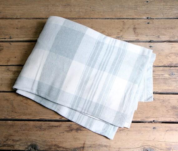 Vintage Cotton and Wool Plaid Blanket / Extra Long, Yardage