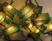 Patio Garden Lights - Handmade Paper - Set of Ten Lanterns - Blue Green