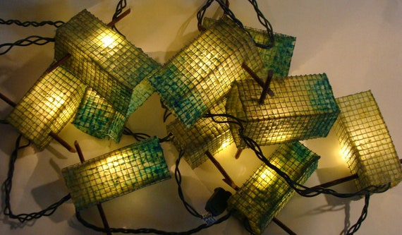 Patio Garden Lights - Handmade Paper - Set of Ten Lanterns - Blue Green