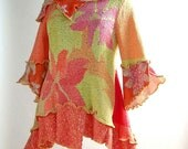 Coral and Yellow Azalea Top, Size Large (12-14-16)