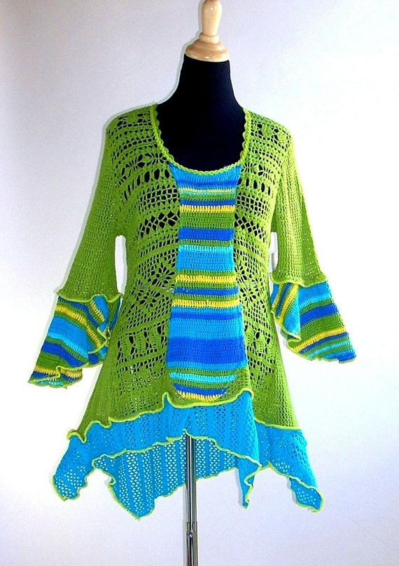 Crochet and Knit Tunic Top in Lime Green and Aqua, Size Medium  (12-14-16)
