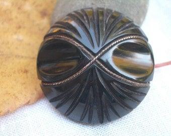 LG Antique Coat Button  -  Carved Black Bakelite