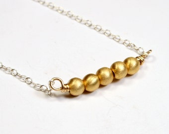 Simple Gold Bead Necklace - Everyday Jewelry