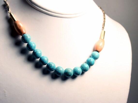 Magnesite Strand Necklace - Boho Necklace - Magnesite and Wood