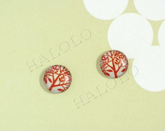 Sale - 10pcs handmade  tree of life in vintage style round clear glass dome cabochons 12mm (12-0286)