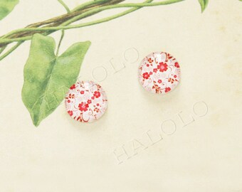 Sale - 10pcs handmade small red flowers clear glass dome cabochons 12mm (12-0307)