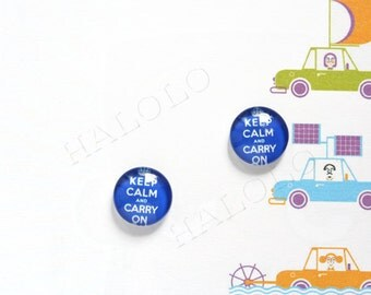 Sale - 10pcs handmade Keep Calm and Carry On slogan clear glass dome cabochons 12mm (12-0519)