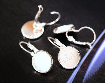 10pcs silver finish french earring - round pad inner size 12mm diameter. (0239C)