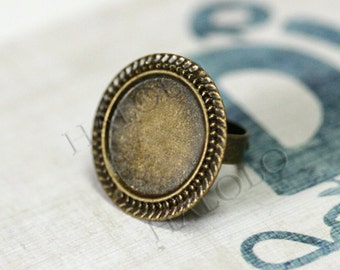 5 pcs antique bronze finish adjustable filigree ring - The pad inner size is 20mm diameter. R27A