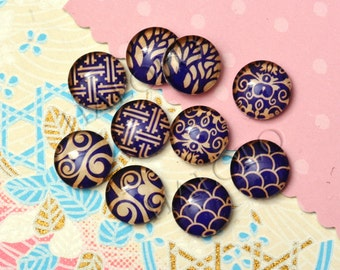 10pcs handmade assorted texture round clear glass dome cabochons / Wooden earring stud 12mm (12-0640)