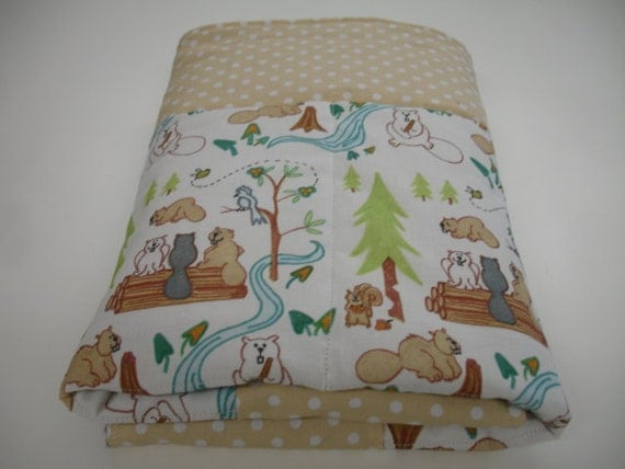 Lazy Beavers in White Minky Baby Crib Blanket 30 x 30 READY TO SHIP On Sale