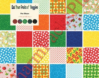 Moda EAT YOUR FRUITS Veggies Charm Pack - Five Inch Quilt Fabric Squares Blocks Kit