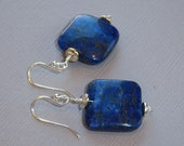 Wire Wrapped Lapis Lazuli Earrings on French Wires