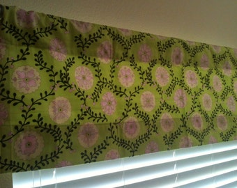 Pink and Lime Flower Lined Valance - Ready to ship