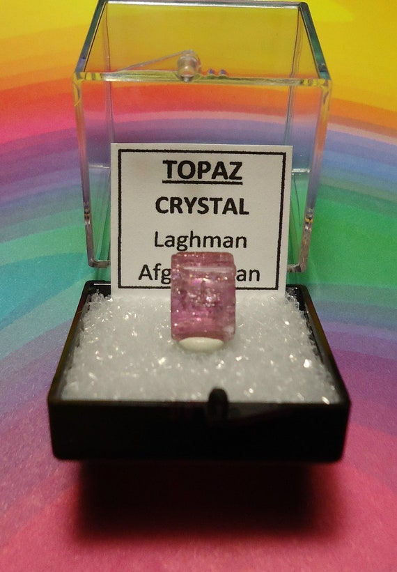 RARE PINK TOPAZ Natural Double Terminated Crystal In Perky Mineral Specimen Box From Laghman Afghanistan Extremely Rare