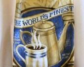 Handmade crochet top towel coffee cup blue