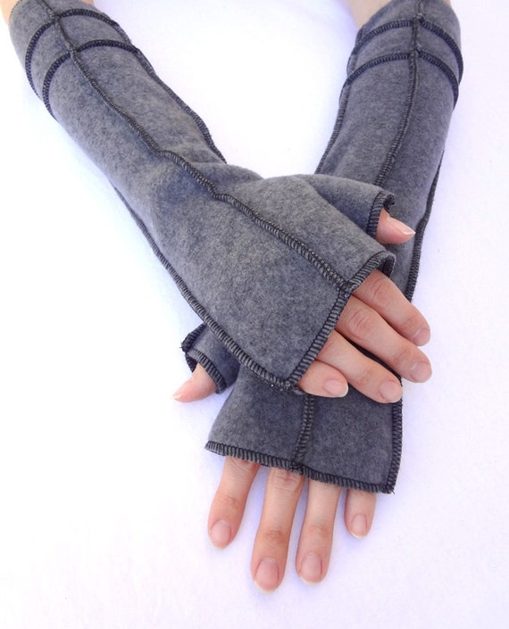 Charcoal Grey Fingerless Gloves, Extra Long,  BLACK thread, size LARGE