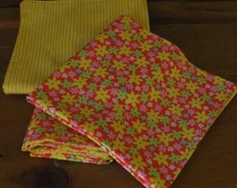 Hippie Mod Flowers Green White Orange and Yellow Reversible Cloth Napkins - Set of 4