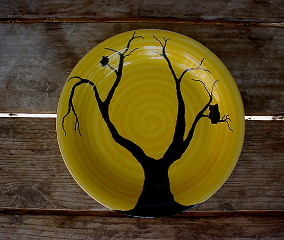 Midnight owl pottery dinner plates choose your colors