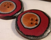 Set of 2 One-of-a-kind Handmade Round Buttons...