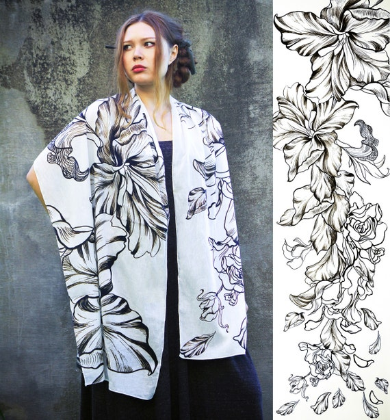 Women scarf, Original Art hand painted, Flowing Roses, petals, stunning unique and useful, perfect gift