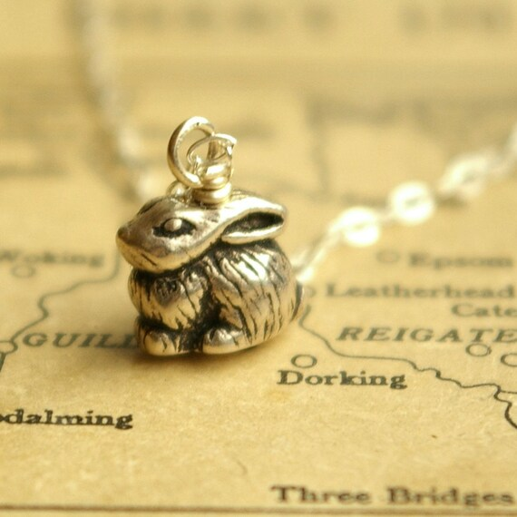 Tiny rabbit, Antique Silver Pewter and Sterling Silver Charm Necklace