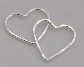 Fine Silver Hearts, Qty 3, 15-17mm