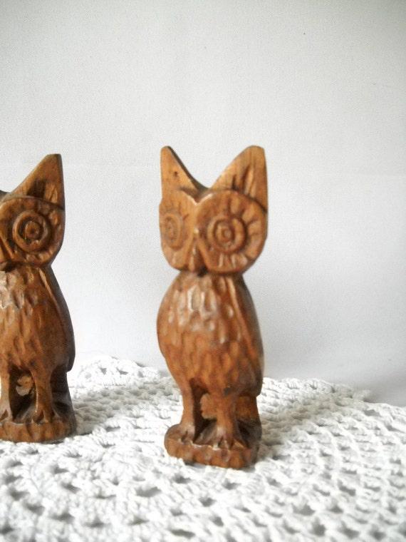 Vintage Owl Figures Carved Wooden Owls Kitsch 1970s Decor