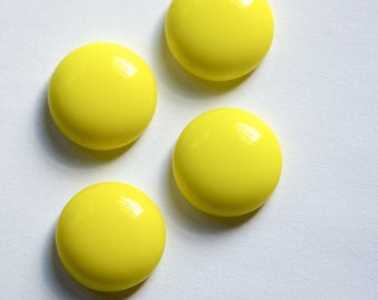 Vintage German Opaque Yellow Glass Cabochons 16mm cab716G