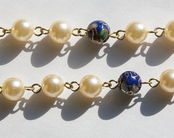Vintage Blue Cloisonne and Pearl Beaded Chain 8mm chn071A