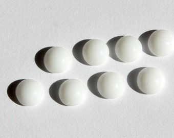Vintage Opaque White Glass Cabochons Germany 6mm cab700F