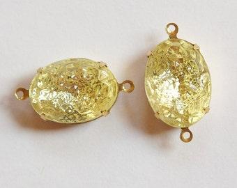 Vintage Jonquil Textured Stones in 2 Loop Brass Setting 18x13mm ovl003KK2