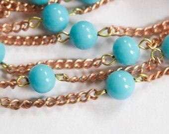 Vintage Medium Blue Glass Beaded Chain Japan chn074