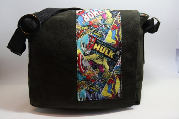 Marvel Comic Book Covers Leather Messenger Bag