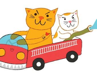 FIRE CATS: 4x6inch, 5 color screenprint