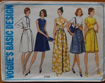 """1970s vintage original Vogue sewing pattern ladies dress with or without collar and sleeves Bust 34"""""""