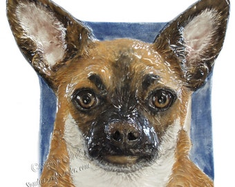 Chihuahua CERAMIC Portrait Sculpture 3D Dog Art Tile Plaque FUNCTIONAL ART by Sondra Alexander In Stock