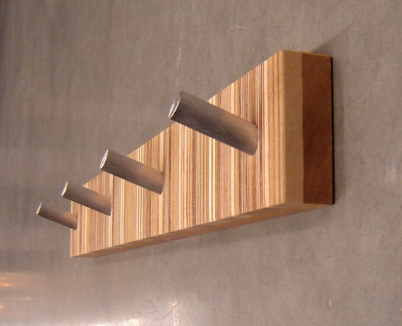 Two custom four hook modern coat racks for by andrewsreclaimed for Contemporary coat hooks