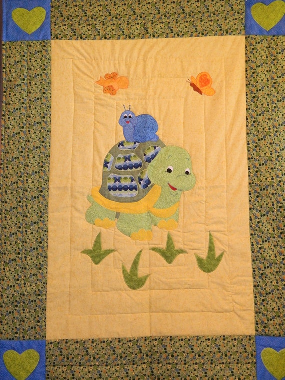 Little Turtle and Blue Snail Crib Quilt