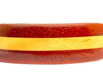 Handmade Wood Barrette with French Made Clip Medium Bloodwood, Yellowheart and Padauk Woods