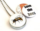 Save the Bees Locket Necklace -  Recycled Silver Steel Honeycomb Nature Eco Friendly Beekeeper Mini Long Necklace Gardener Gift by Polarity