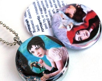 Napoleon and Josephine Locket, Necklace, Jewelry, Wolf, Red Riding Hood, Romantic  - Meluseena - Magnetic Necklace By Polarity, Recycled